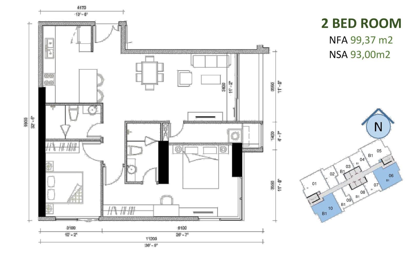 mặt bằng căn hộ sunwah pearl 2 phòng ngủ B1-06 và B1-10
