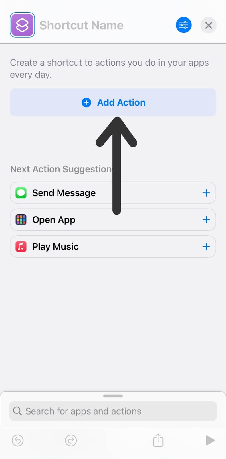 Click Add Action on iPhone Shortcuts app