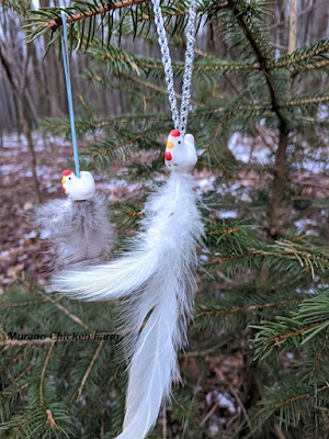 Chicken bead ornaments with feathers, craft