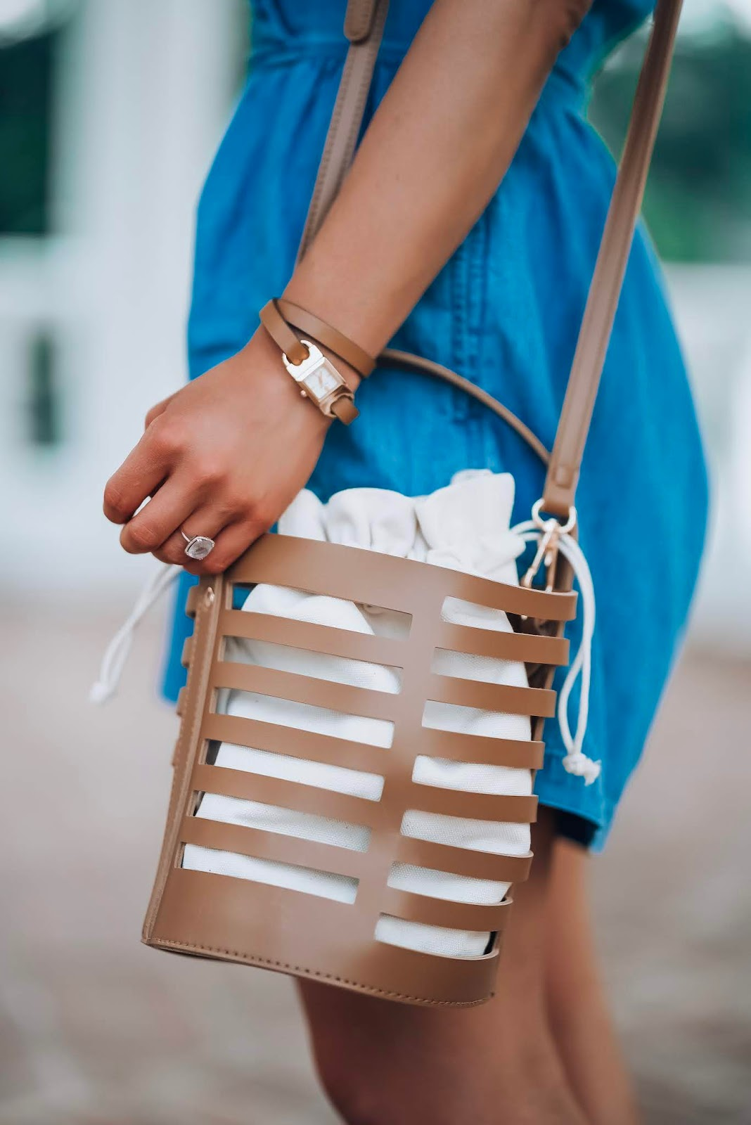 The Best Way to Wear Chambray: Brown Bucket Bag - Something Delightful Blog