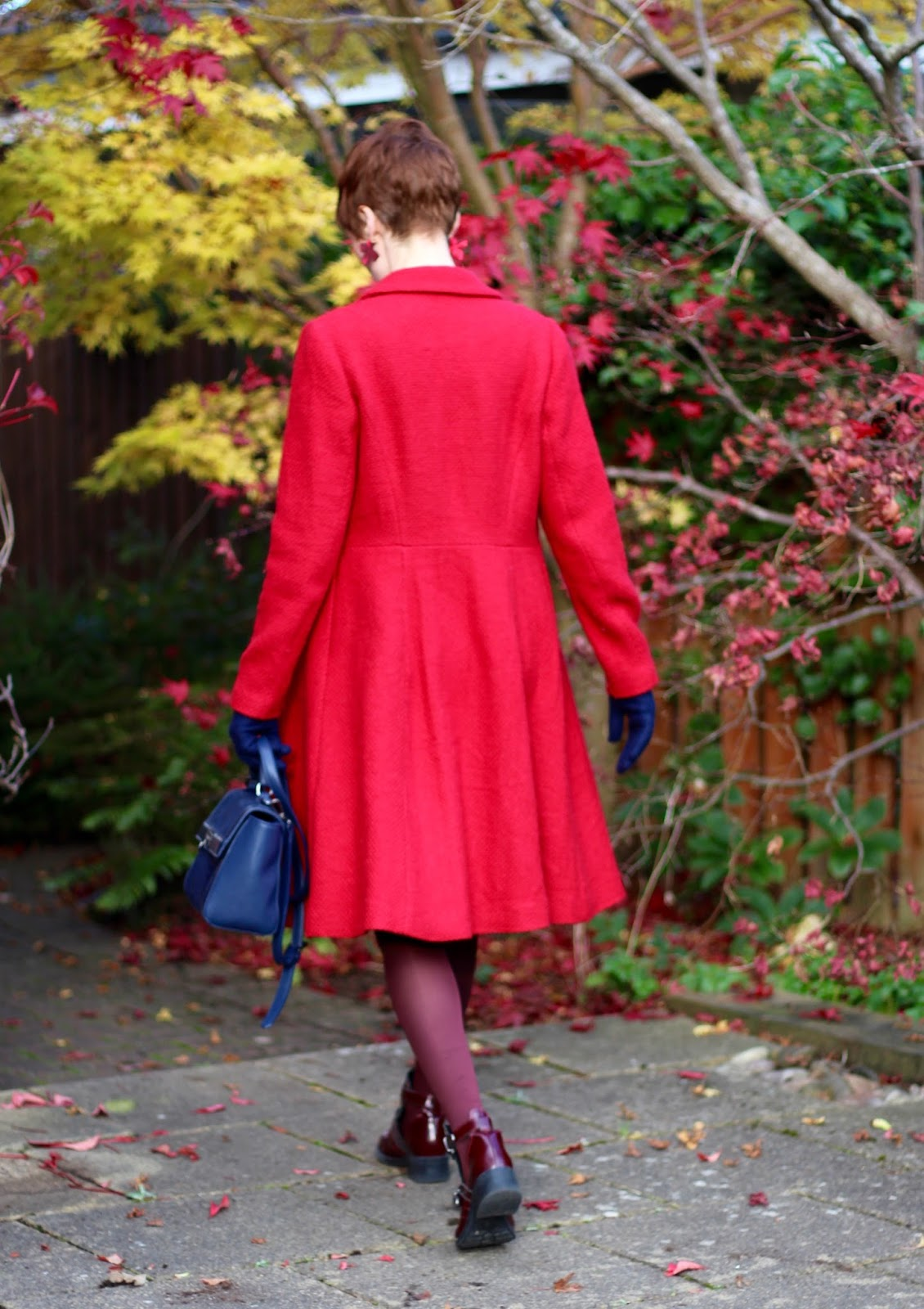 Red coat back view, Winter Florals | Fake Fabulous