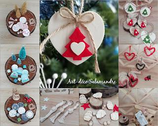 Décorations de Noël à suspendre dans le sapin, pour décorer vos paquets cadeaux, étiquettes en bois et guirlandes fait main