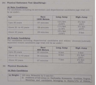 Physical Endurance Test Details for Male Female Head Constable Jobs