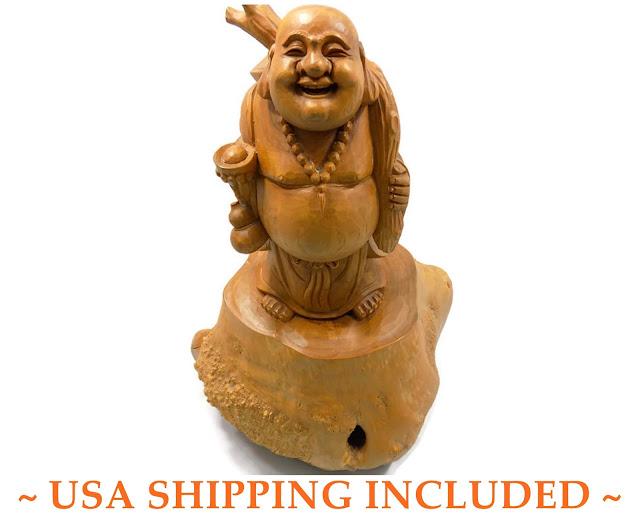 Vintage Asian Hotei Burl Statue