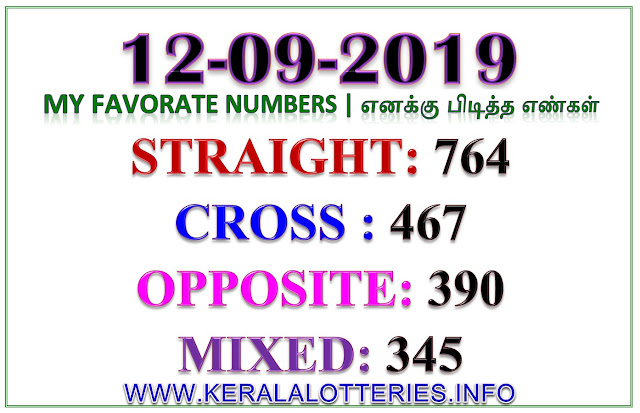 Kerala Lottery Result Guessing Favorite Numbers 12.09.2019