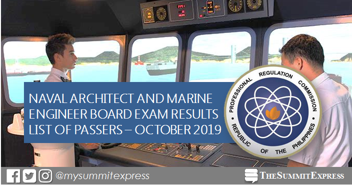 FULL RESULTS: October 2019 Naval Architect and Marine Engineer board exam list of passers