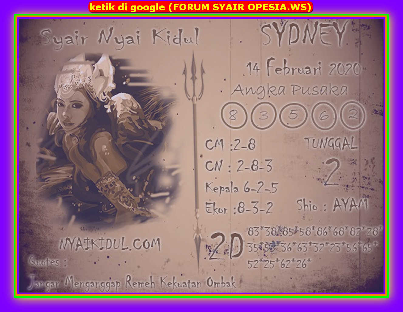 Kode syair Sydney Jumat 14 Februari 2020 93