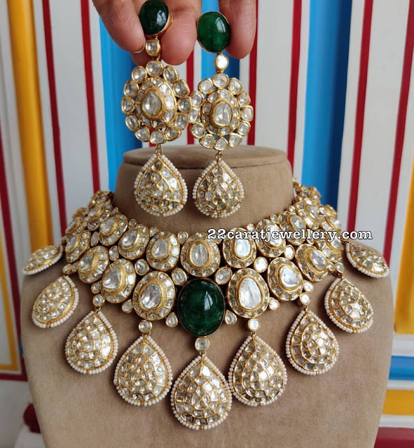 Polki Bridal Necklace with Earrings