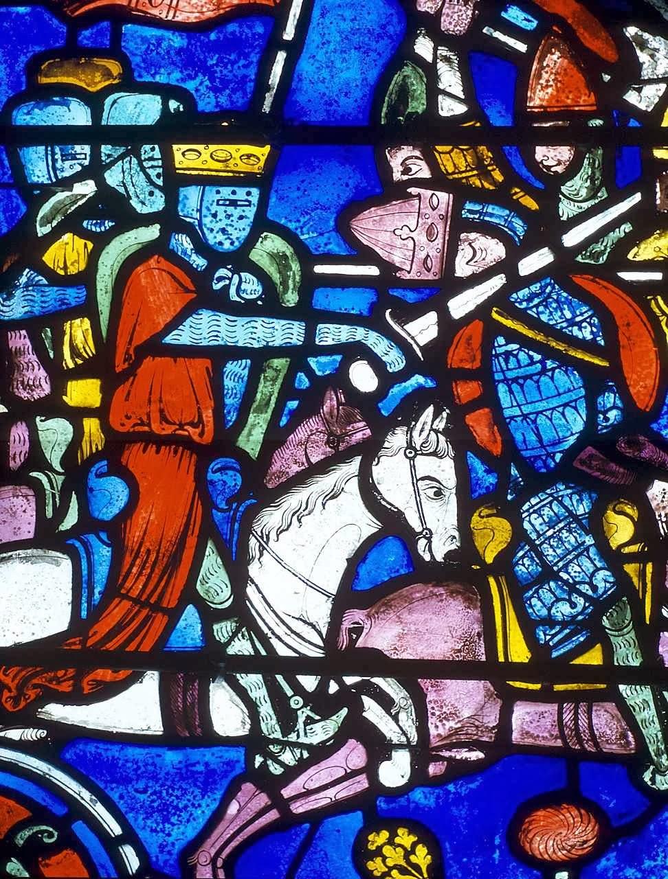Carlos Magno deteve os fluxos invasores pagãos e islâmicos na Europa. Vitral de Carlos Magno. Catedral de Chartres, França