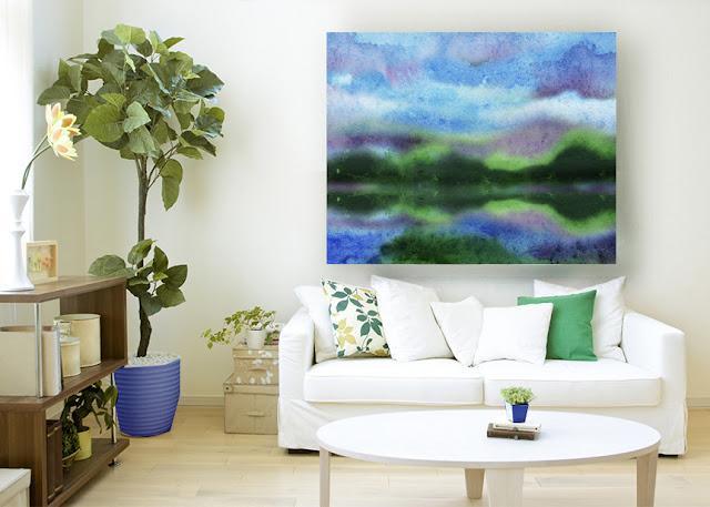 Relaxing Meditative Watercolor Lake Landscape