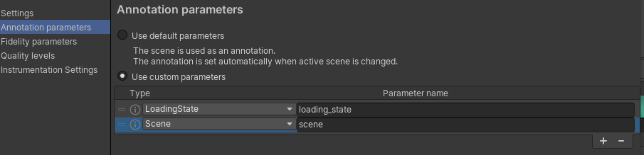 Annotation Parameters within the Unity Editor from the Android Performance Tuner Plugin