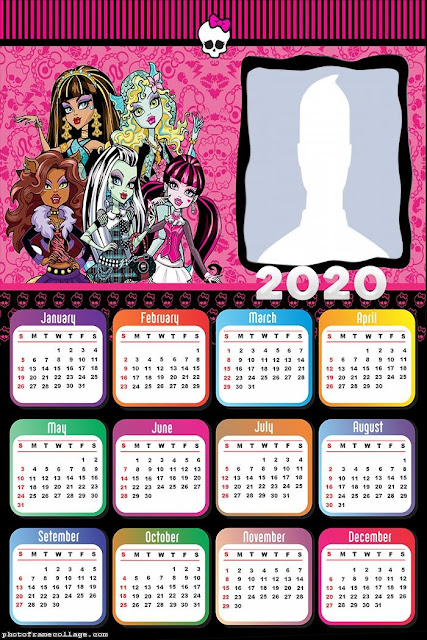 Monster High: Free Printable 2020 Calendar