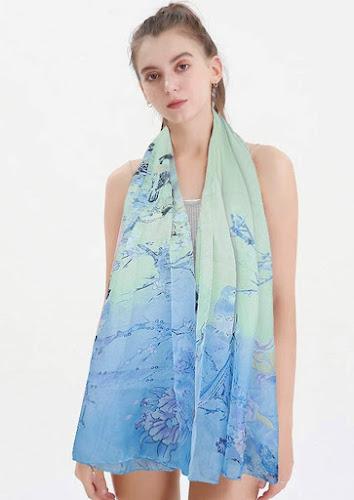Long Floral Print Chiffon Scarves