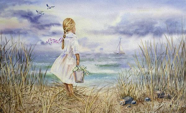 Bestselling Beach Painting Girl And Ocean by Irina Sztukowski
