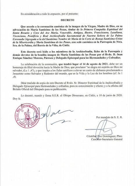 Éste es el decreto de la Coronación Canónica de María Santísima de Las Penas de La Palma de Cádiz
