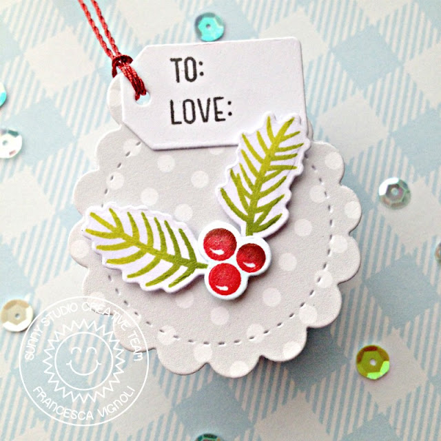 Sunny Studio Stamps: Season's Greetings Scalloped Tag Dies Winter Holiday Tags by Franci Vignoli