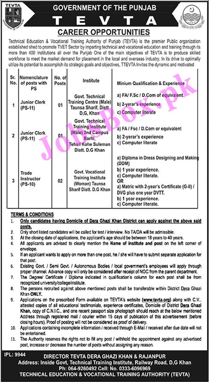 TEVTA Punjab Jobs 2021 – Application Form www.tevta.gop.pk