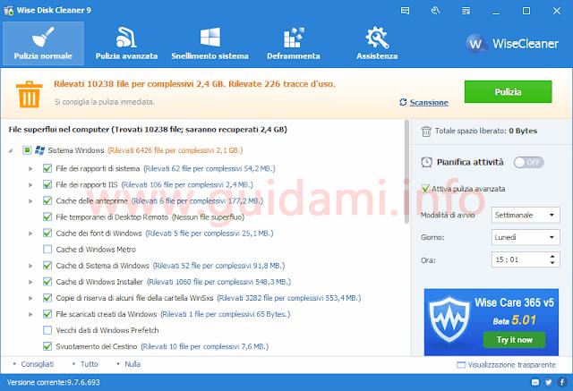 Wise Disk Cleaner interfaccia grafica