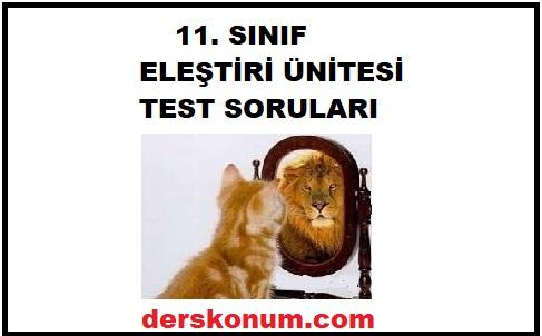 11. SINIF EDEBİYAT ELEŞTİRİ ÜNİTESİ TEST SORULARI