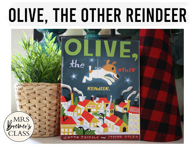 Olive the Other Reindeer book study Christmas literacy unit with Common Core aligned companion activities and a craftivity for K-1