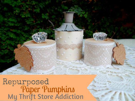 Repurposed paper pumpkins