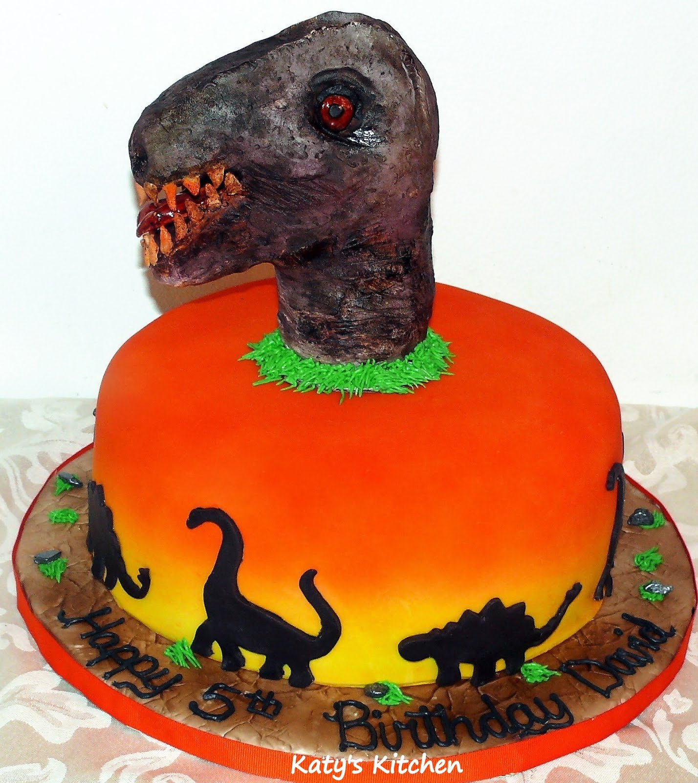 Katys Kitchen Dinosaur Birthday Cake Featuring An Edible T Rex Head