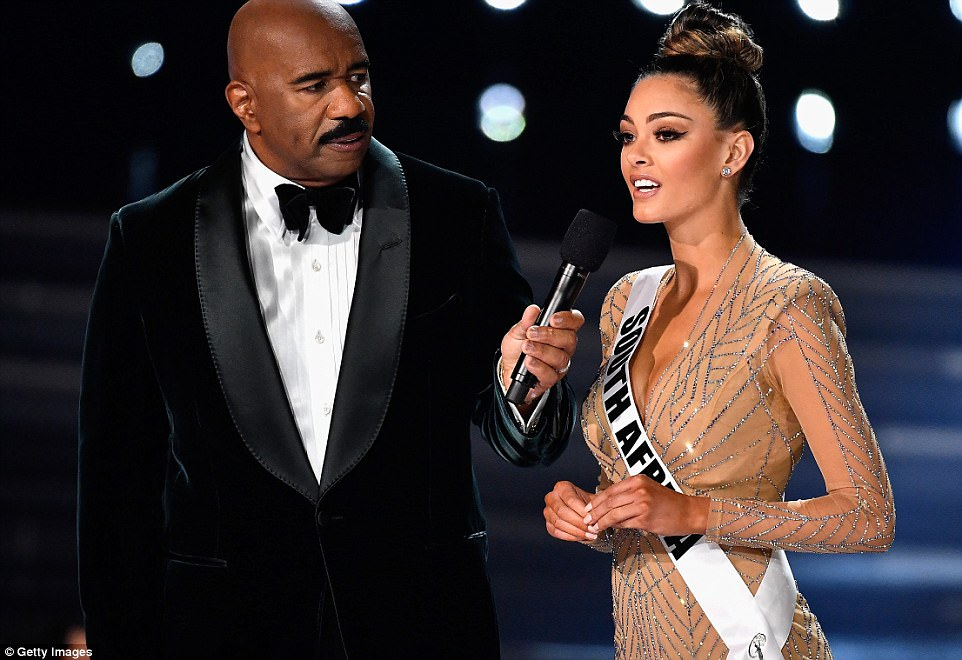 Demi-Leigh Nel-Peters and presenter Steve Harvey