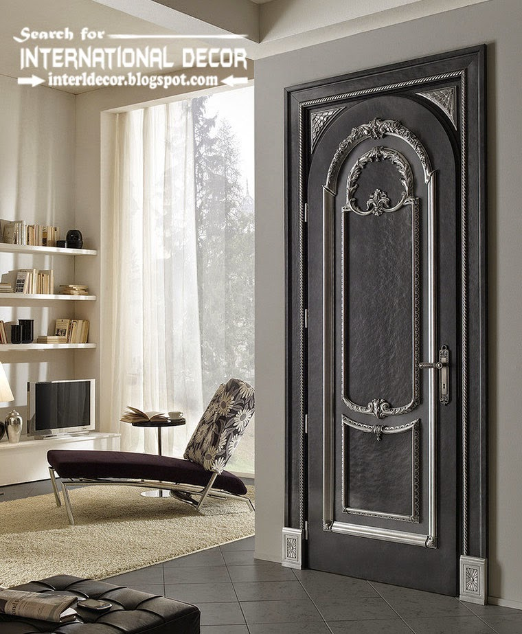 luxury interior doors 2015 for classic interior, Italian black door with silvering