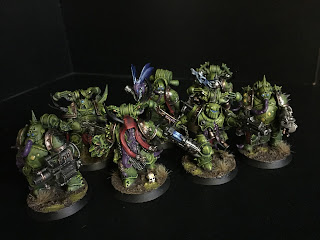 painted plague marine squad 40k warhammer