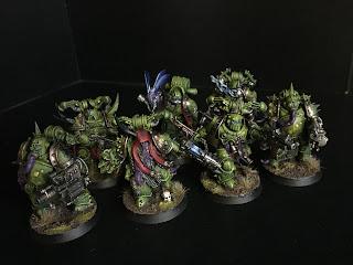 painted plague marine squad 40k warhammer