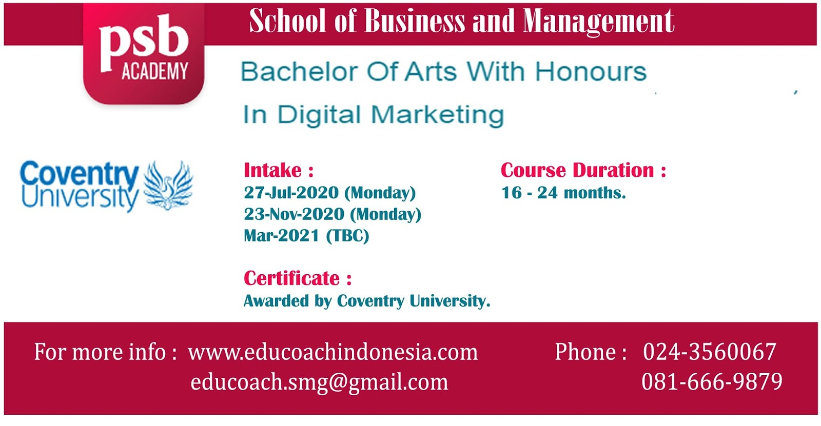 Bachelor Of Arts With Honours In Digital Marketing | University of Coventry | PSB Academy Singapura