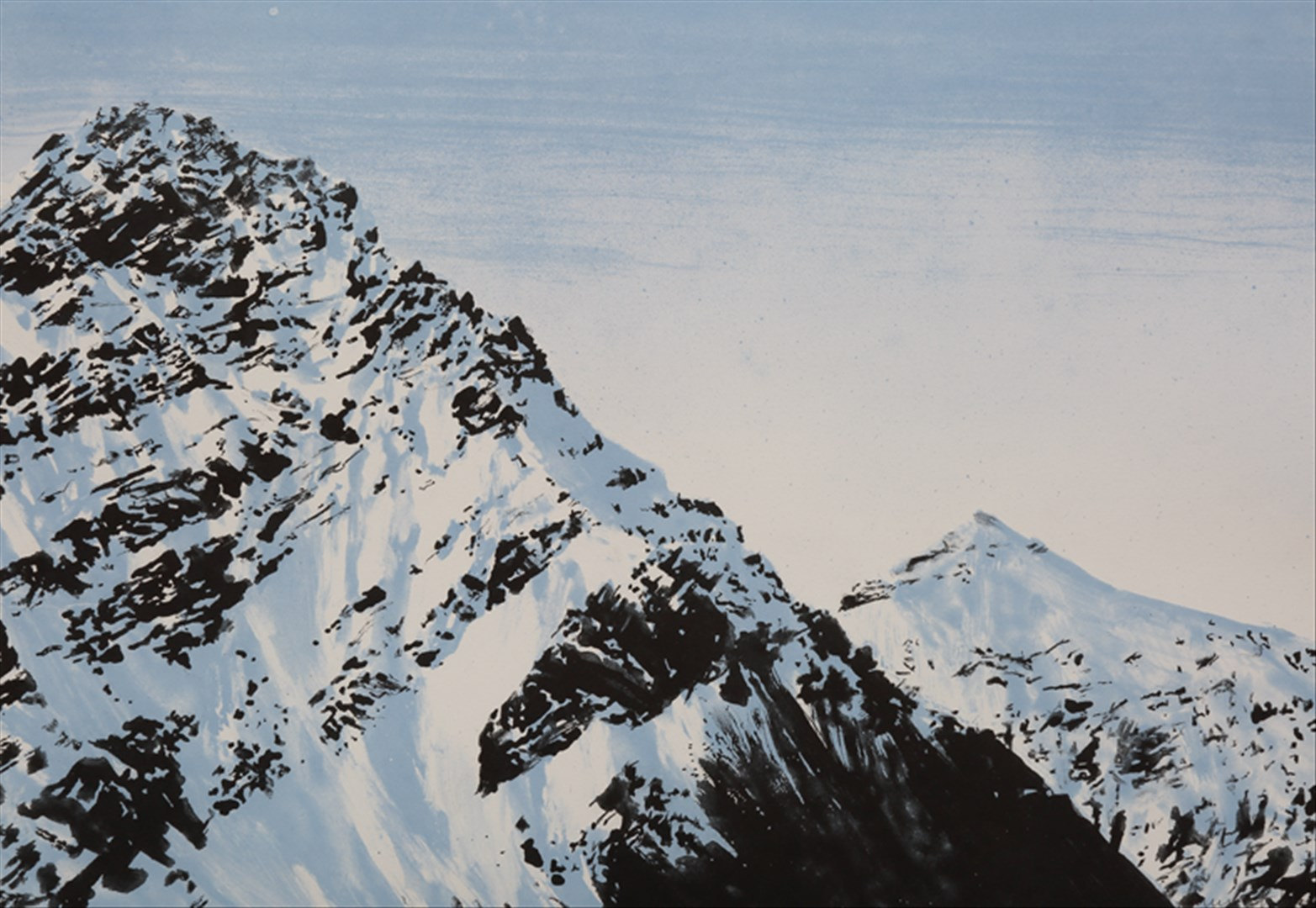 Emma Stibbon RA - Snowline, Svalbard (intaglio print with hand colouring, edition of 40) - Royal Academy Summer Exhibition 2021 - London lifestyle & culture blog