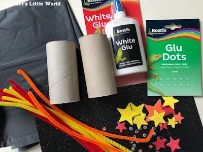 Materials to make cardboard tube fireworks