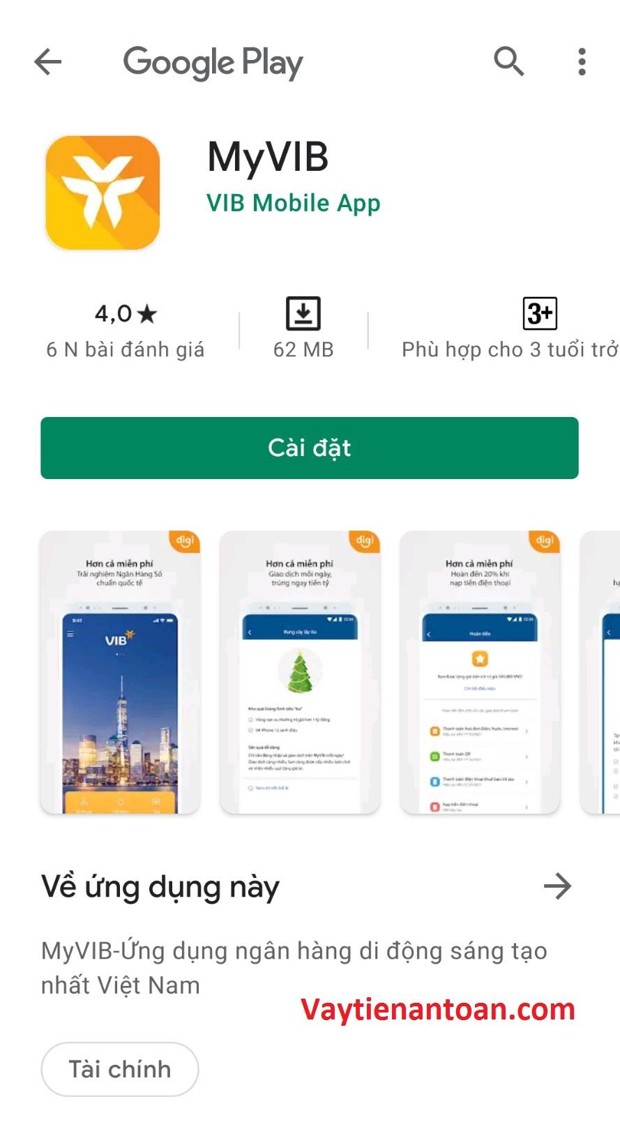 Cài đặt app myvib bank