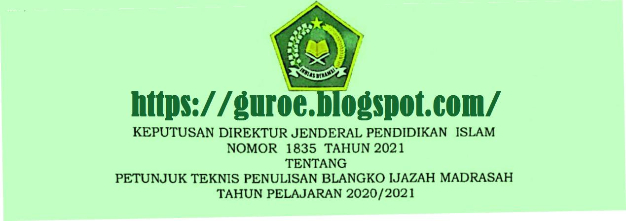 Petunjuk Teknis atau Juknis Pengisian Blangko Ijazah Madrasah (RA MI MTS MA MAK) Tahun 2021