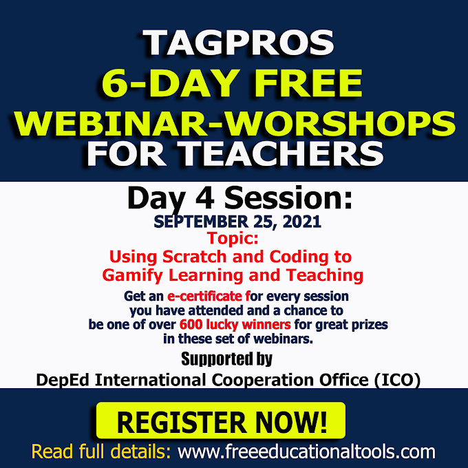 Tagpros September 25 | Day 4 Session on Using Scratch and Coding to Gamify Learning and Teaching | Register Now!