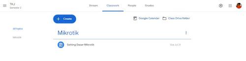 Tampilan halaman Classwork google classroom