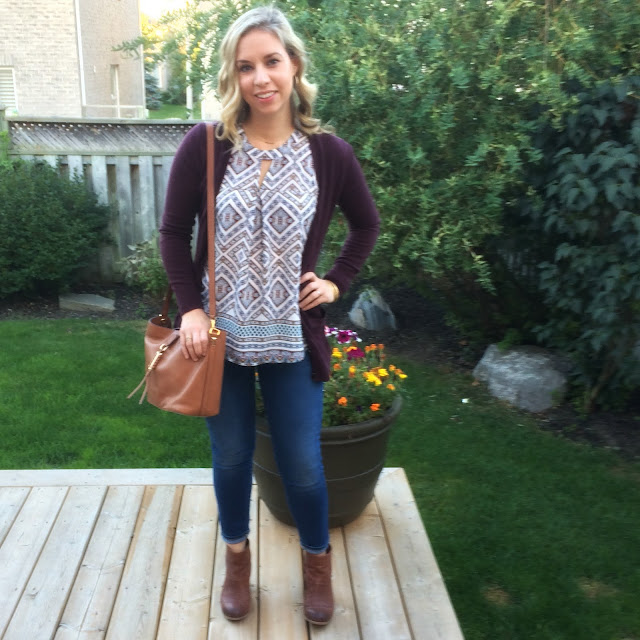 fall cardigan and Stella dot Sunday bag