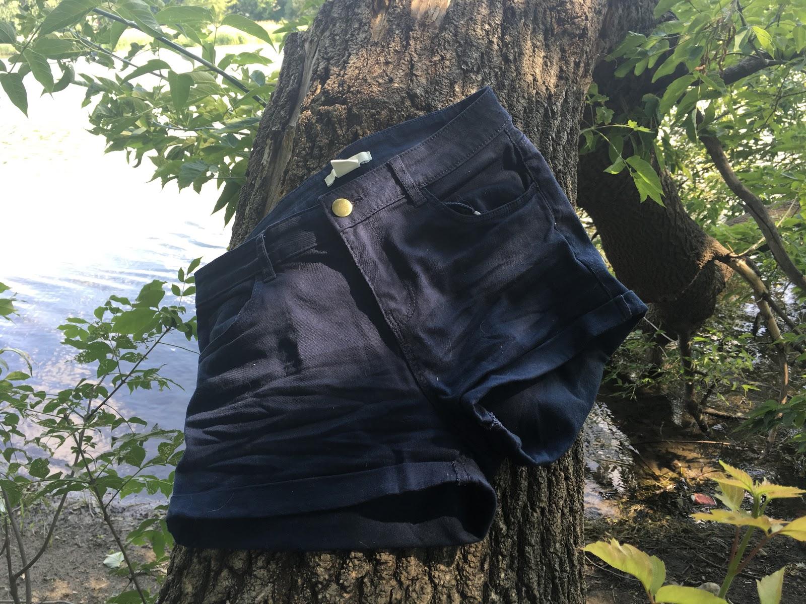 H&M Navy Blue Twill Shorts | Akinokiki