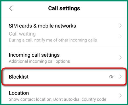 حظر الأرقام غير المعروفة Xiaomi