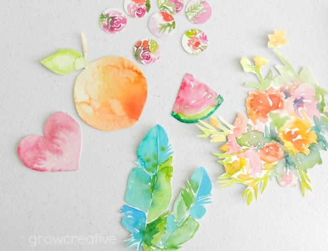 Watercolor Fruit and Feathers Cut-Outs: growcreativeblog