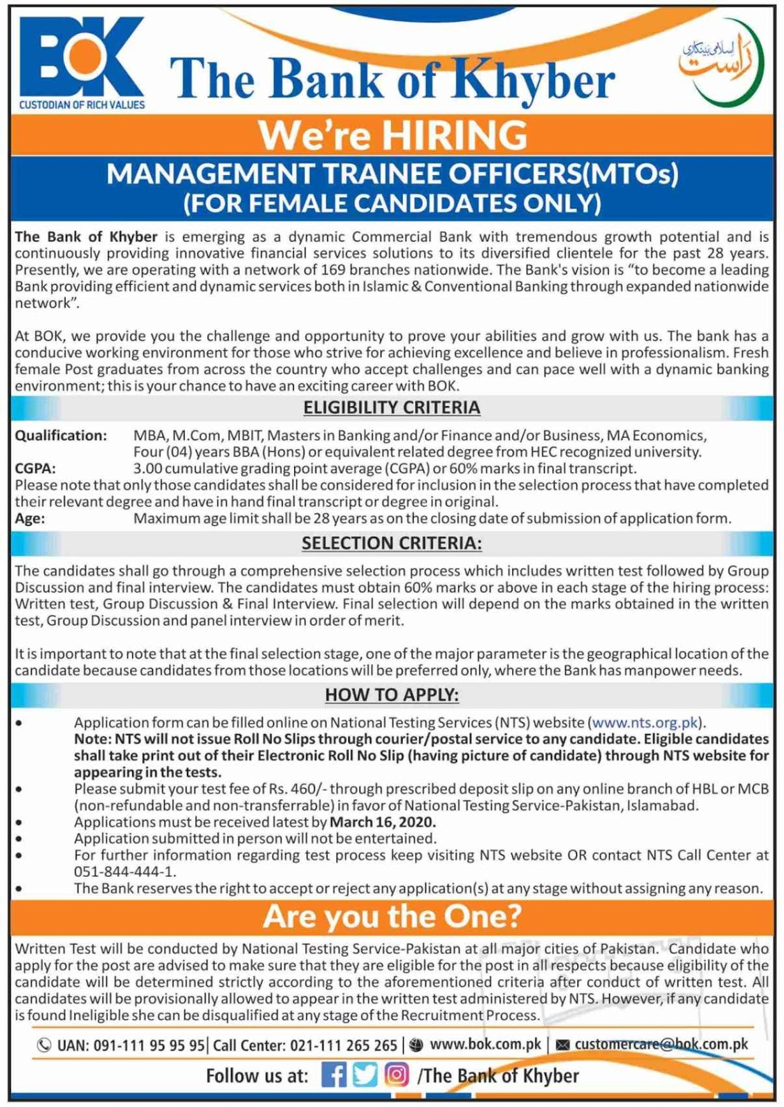 Management Trainee Officer (MTOs) Jobs for All Cities in Pakistan in The Bank of Khyber BOK Jobs 2020 via NTS Testing Service