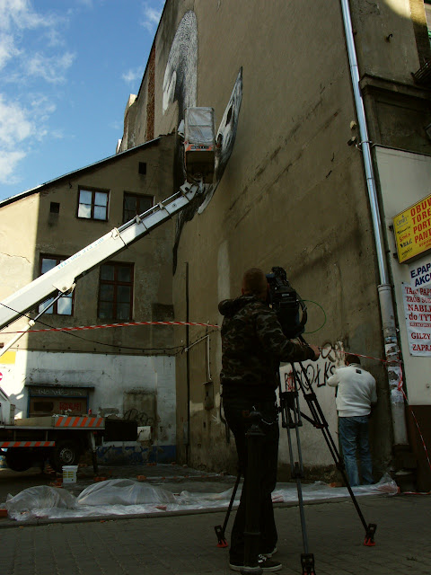 Street Artist ROA Working on a New Mural in Lodz, Poland for Fundacja Urban Forms. 8