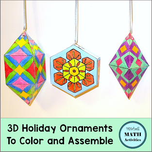 Set of 3 finished 3D holiday ornament crafts