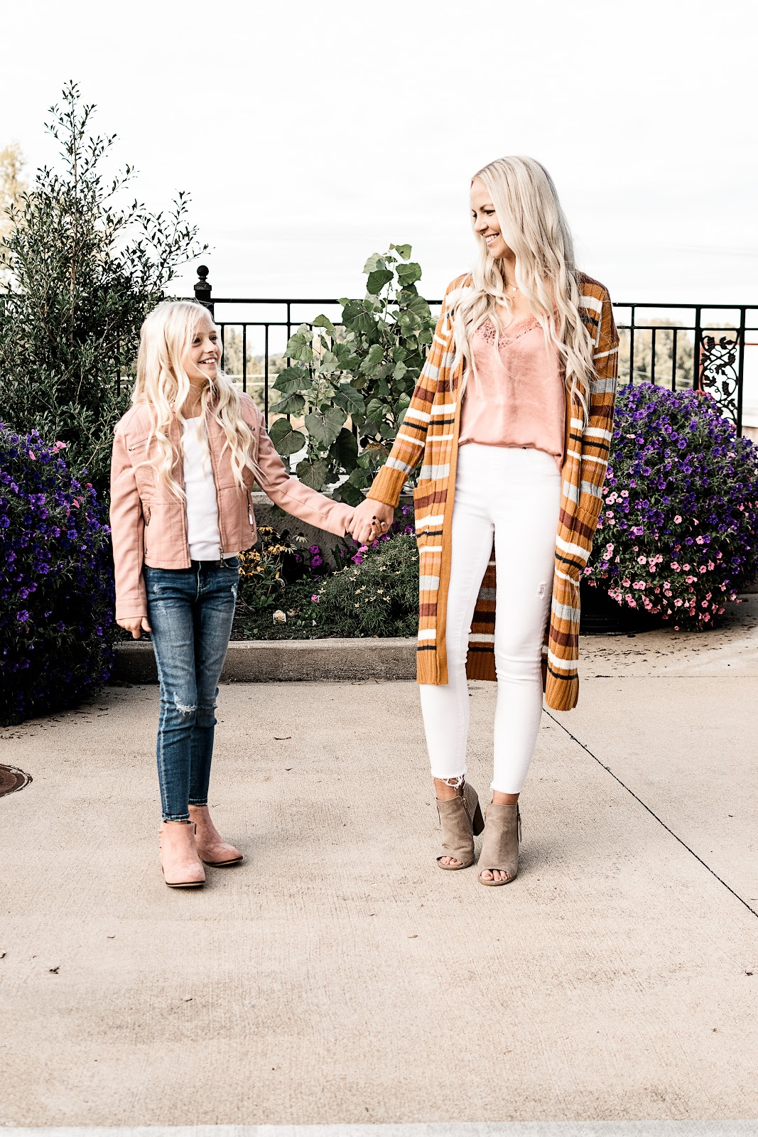 Fall Fashion Finds at Gordmans Fall Outfit Idea Inspo Blogger Blog St. Louis Missouri Midwest Mom and Me Mommy Style Mom Style Mom and Daughter Cardigan Booties Jeans AG Jeans Spanx Jeans Satin Cami Peep Toe Booties