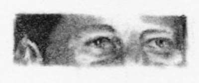 """""""Eyes of John F. Kennedy"""" Charcoal on Paper, c. 2007 1.5 x 4 inches"""