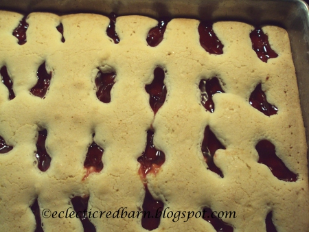 Eclectic Red Barn: Easy Cherry Squares batter and cherries baked