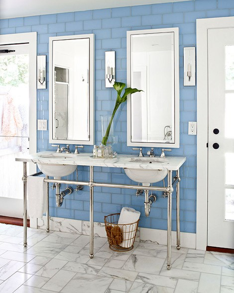 Bathrooms With Blue Tile Floors: To Da Loos: Blue Washrooms: Celebrating My Favorite Colour