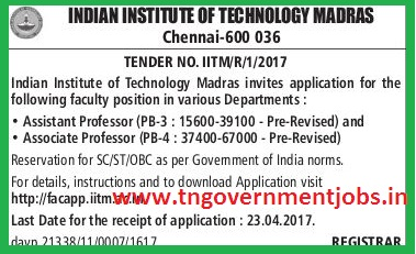 Online Applications are invited for Faculty Member Posts in IITM Chennai