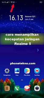 Cara menampilkan kecepatan jaringan internet Realme 5